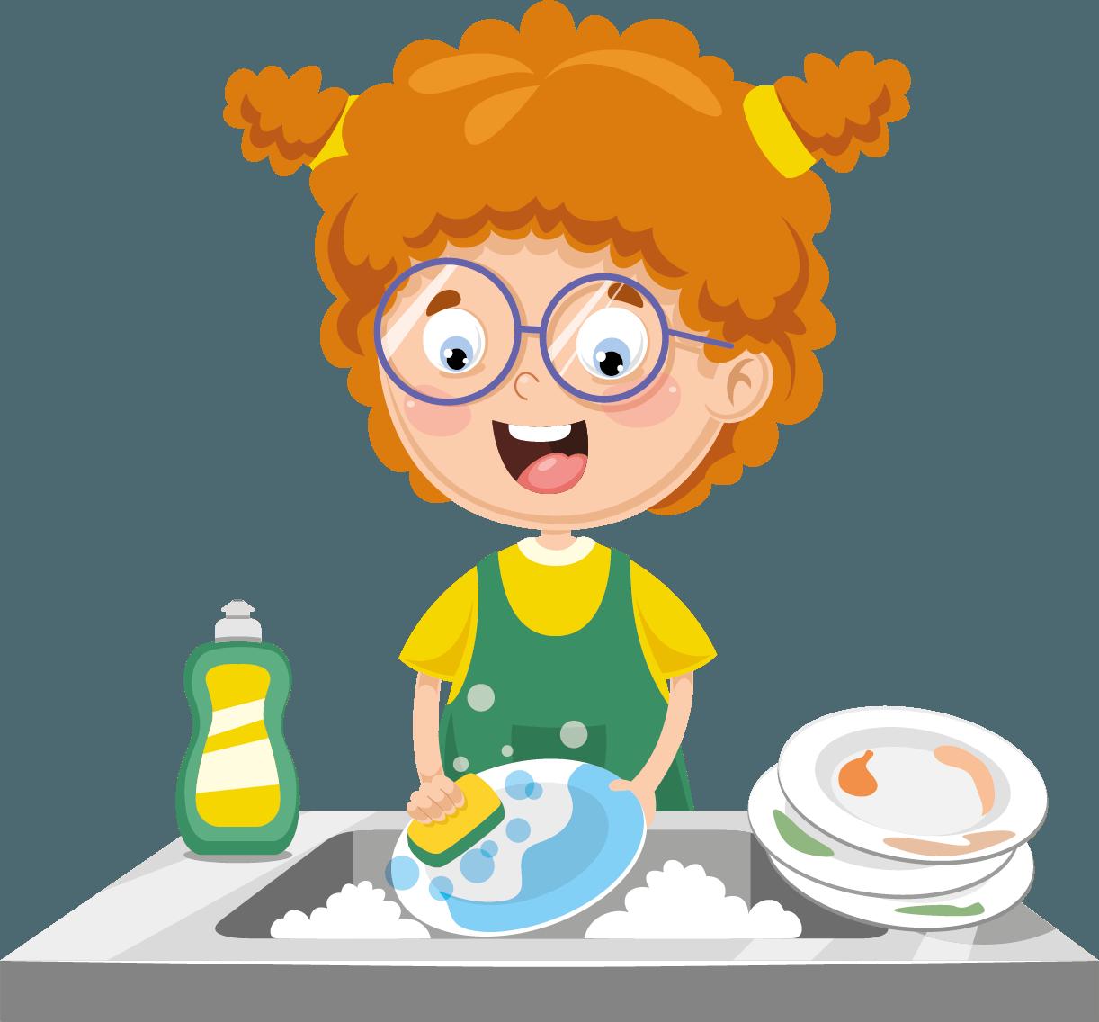 Holčička umývá nádobí. Jeden talíř právě drhne další tři má naskládané bokem.