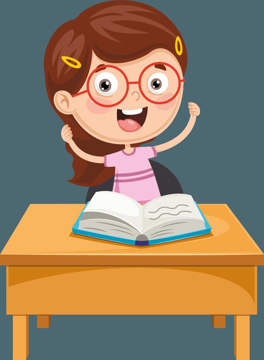 Holčička sedí zastolem ačte otevřenou knížku. Má zvednuté ruce araduje se.